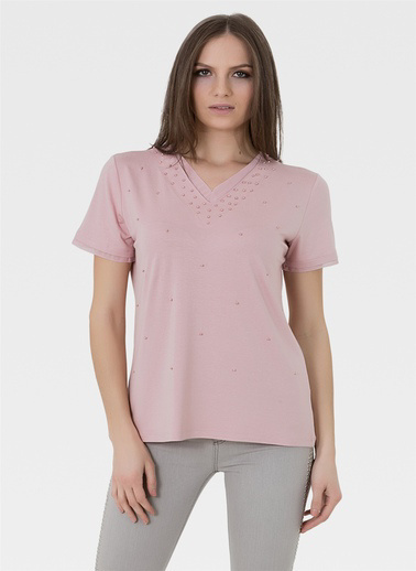 Optique Knitwear Düz V Yaka Kısa Kol Penye Bluz Pudra